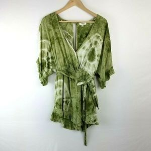 426f0bc7d35 Umgee Green Tie Dye Cold Shoulder Romper Size S